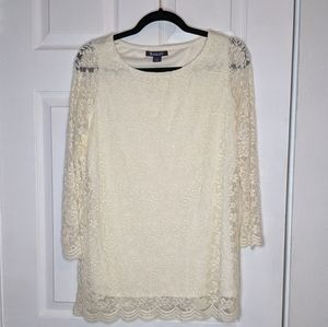 Roaman's Ivory Lace Long Sleeve Top Size 12
